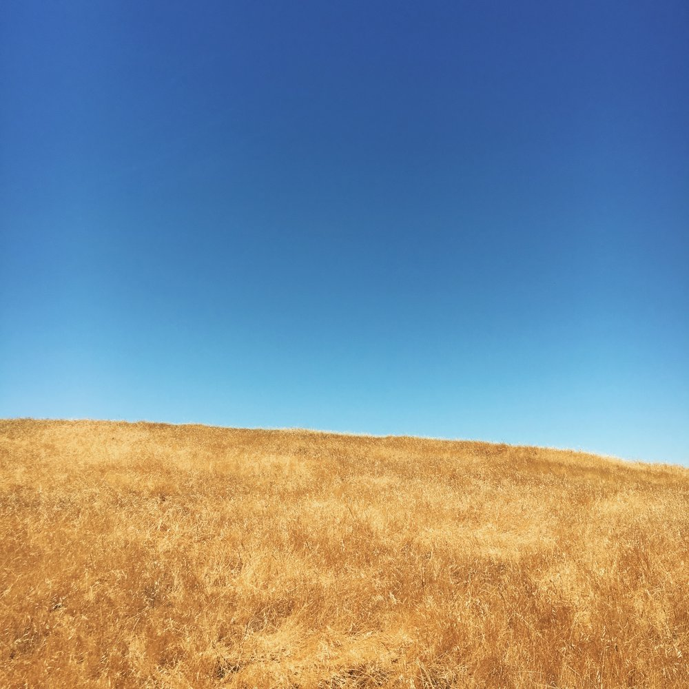 golden California hills, blue sky, summer, solstice