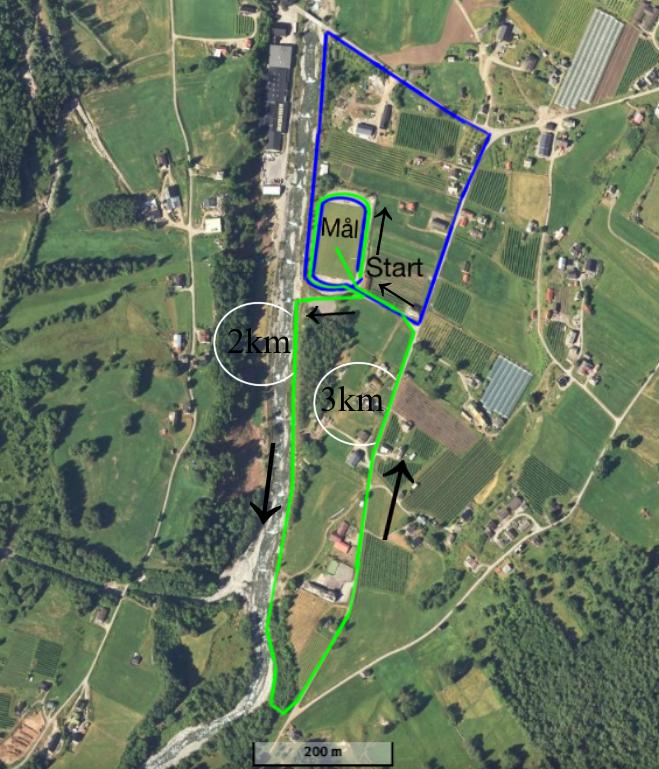 Løypekart over runde 1 + 2, grøn løype - Munchen-Nauplia