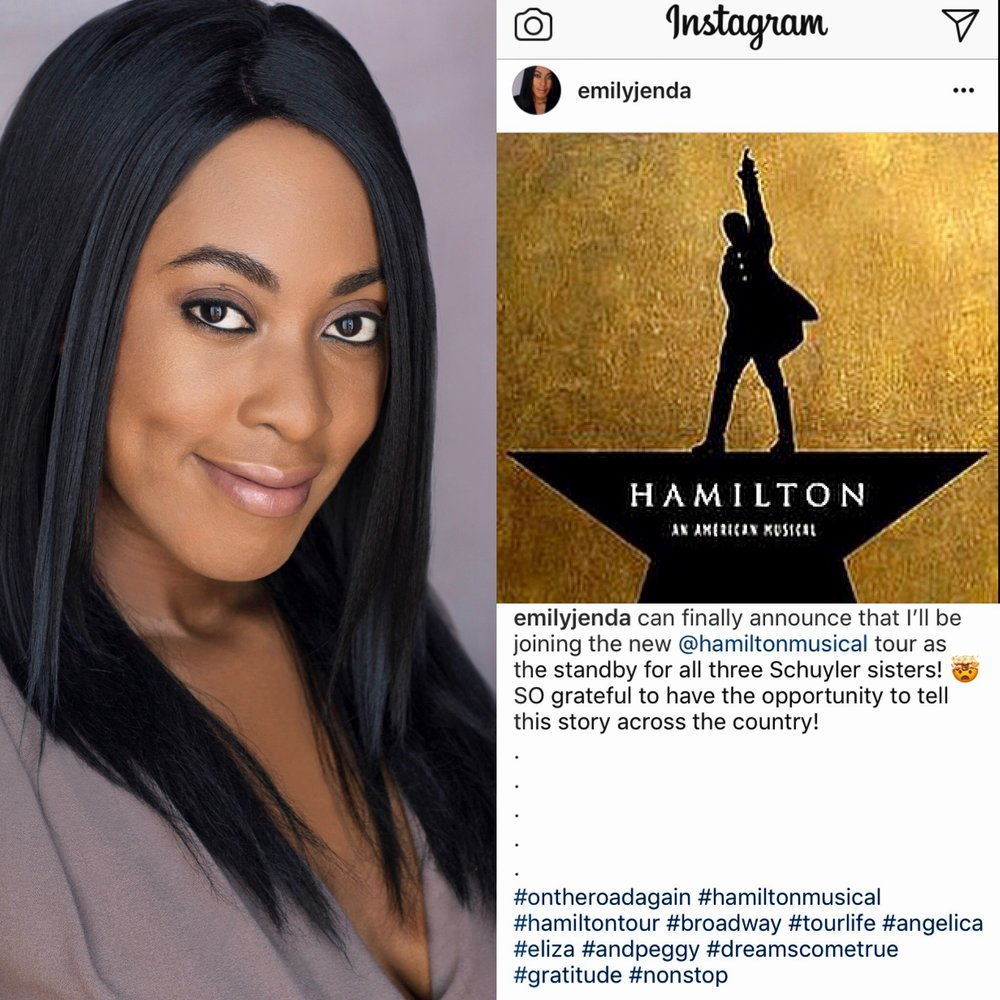 EMILY JENDA - The day has finally come! It is truly an honor and a privilege to announce that client Emily Jenda will be joining the second national tour of the hit Broadway musical, HAMILTON. Couldn't happen to a more talented or deserving human being. So happy for you, Em!!Also, huge shoutout to her amazing agents at Talent House for all of their hard work during this process!The tour kicks off February 6, 2018 in Seattle. You can see the official press release below.http://www.playbill.com/article/joseph-morales-nik-walker-shoba-narayan-kyle-scatliffe-more-set-for-new-hamilton-national-tour