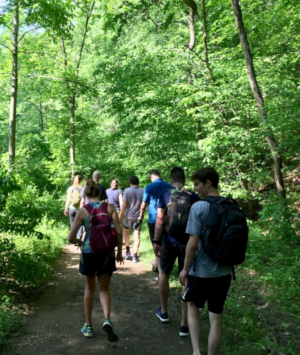 It was a Hike and a Meal. We hiked the upper reaches of Rock Creek Park and ate at the Parkway Deli. A total hit.