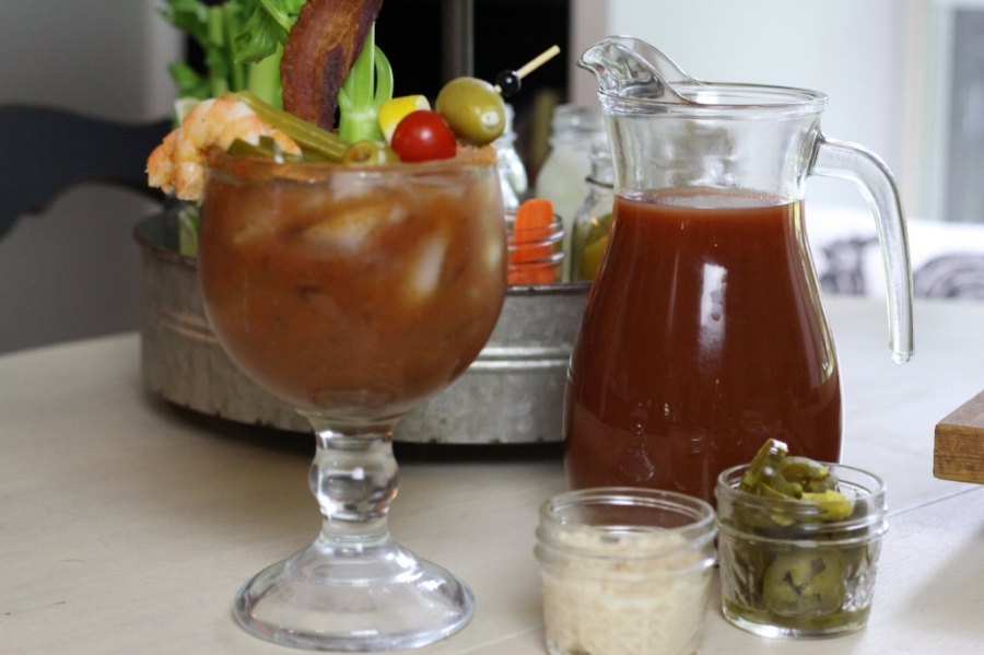 Bloody Mary with garnishes