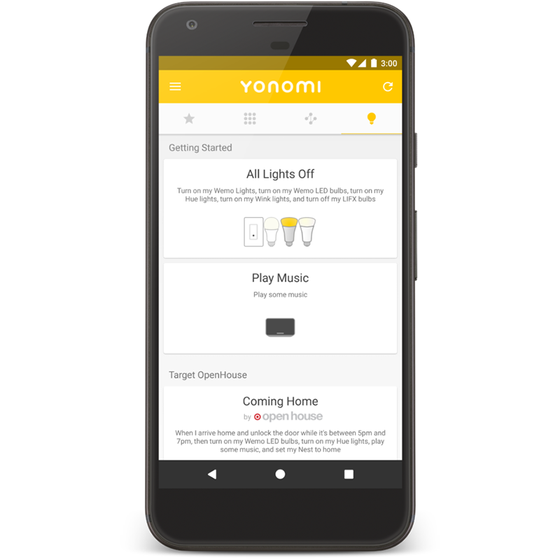 Yonomi for Android - Sign up for Yonomi using your phone or tablet and create automated Routines for every room and every time of day.