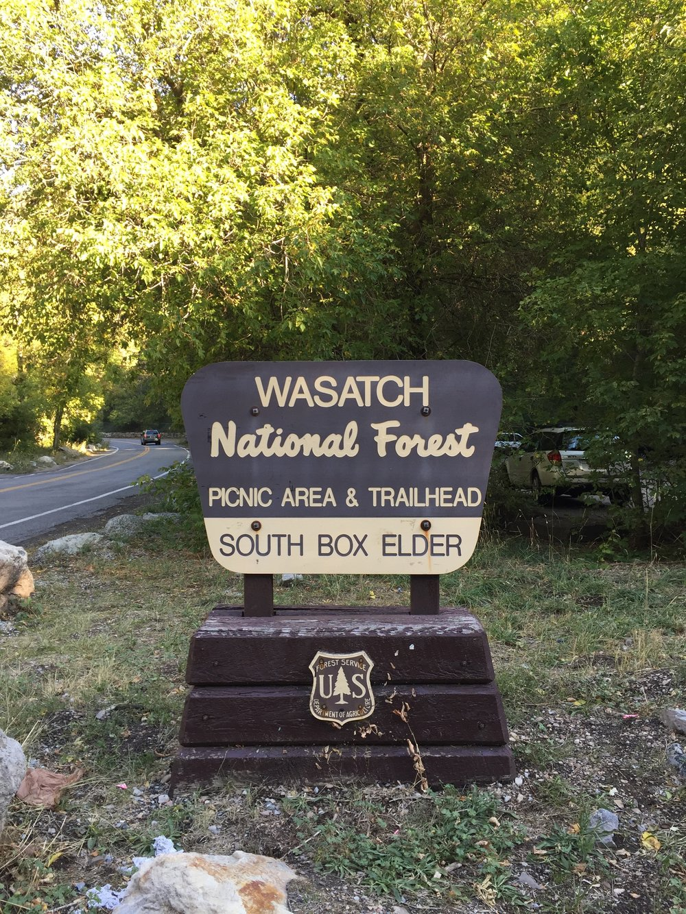 TRAILHEAD MARKER. Parking lot and restrooms provided.