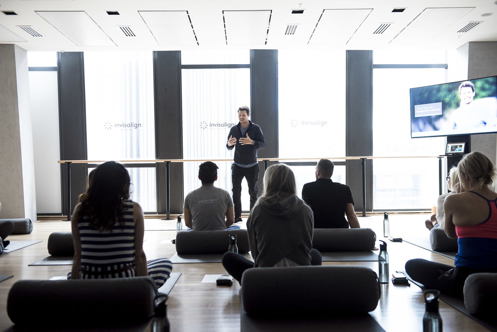 Sydney launch event - As an extention of the content campaign, Jason Dundas hosted the Invisalign Made to Move Sydney press launch, leading Australia's health and fitness media through a 45 minute mindfulness class.
