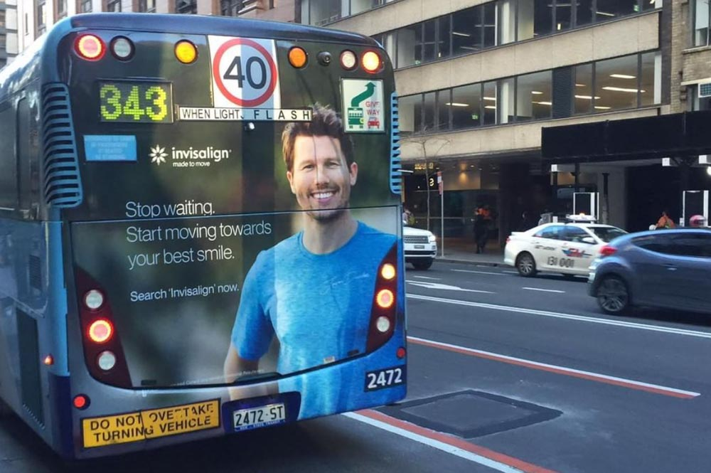 Outdoor activation - Invisalign repourposed the campaign across 100 buses Australia wide.