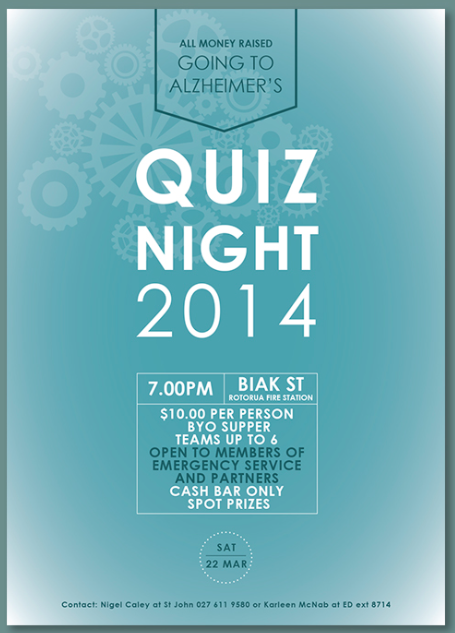 St Johns quiz night poster