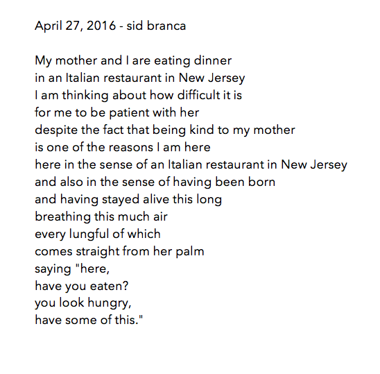 manymistypes: a poem for April 27, 2016. posted by sid branca at like 7 in the morning in rural Finland on May 2, 2016.
