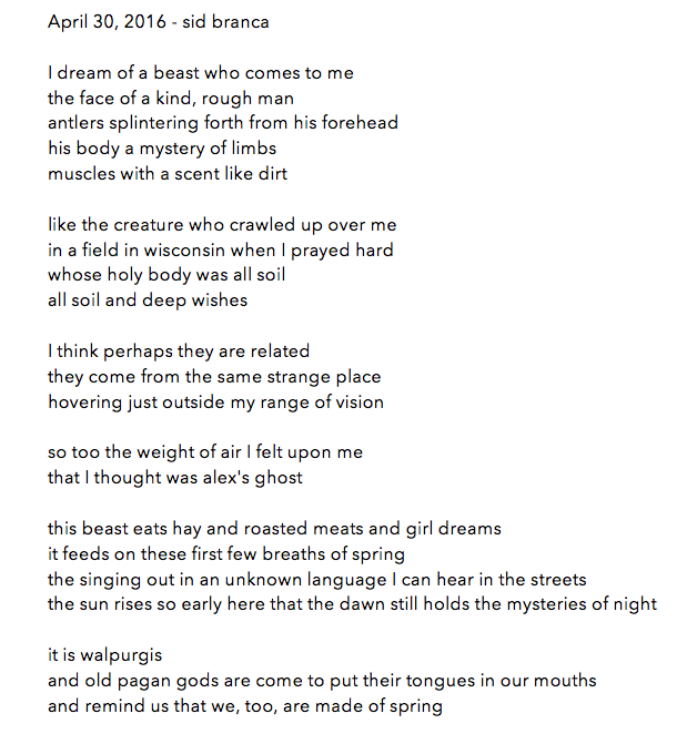 manymistypes :   poem for april 30, 2016 - sid branca. thanks, y'all, for letting me be a part of this. it's a highlight of my year.