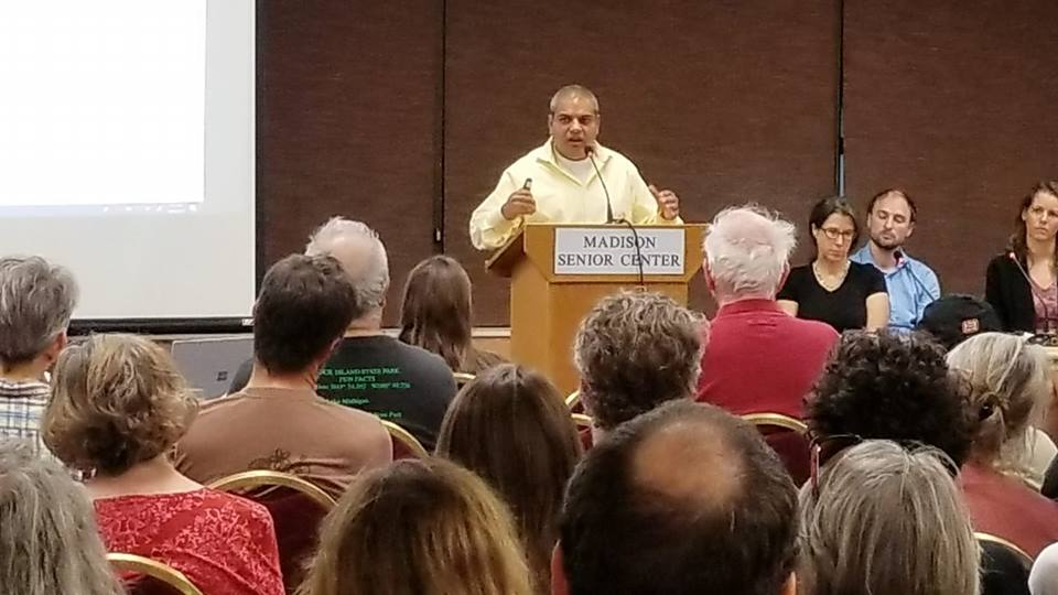 County board supervisor yogesh chawla addresses the well-attended forum