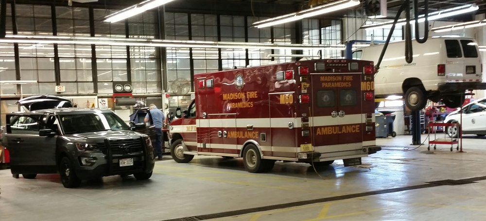 Just a few of the vehicles being worked on in the fleet.