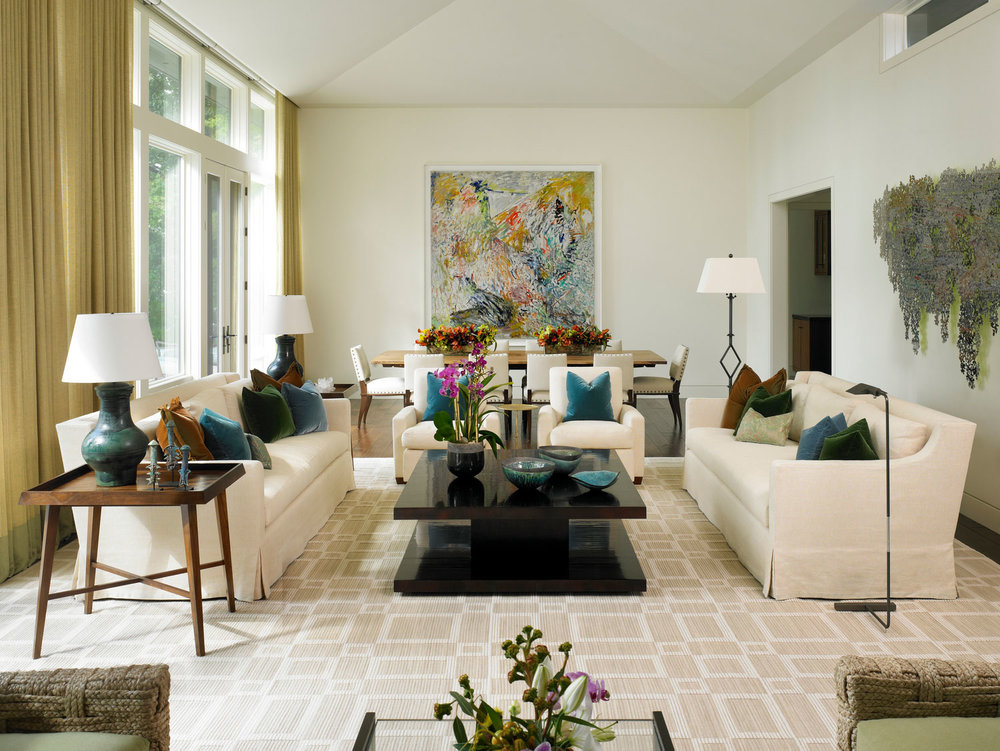custom upholstery & window treatments  Interior Design: Leslie Jones & Associates, Inc.