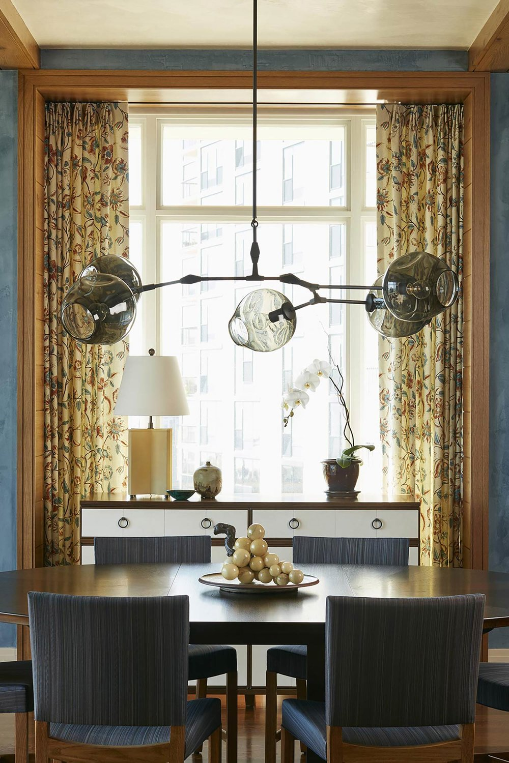 window treatments  Interior Design: Bruce Fox, Inc.