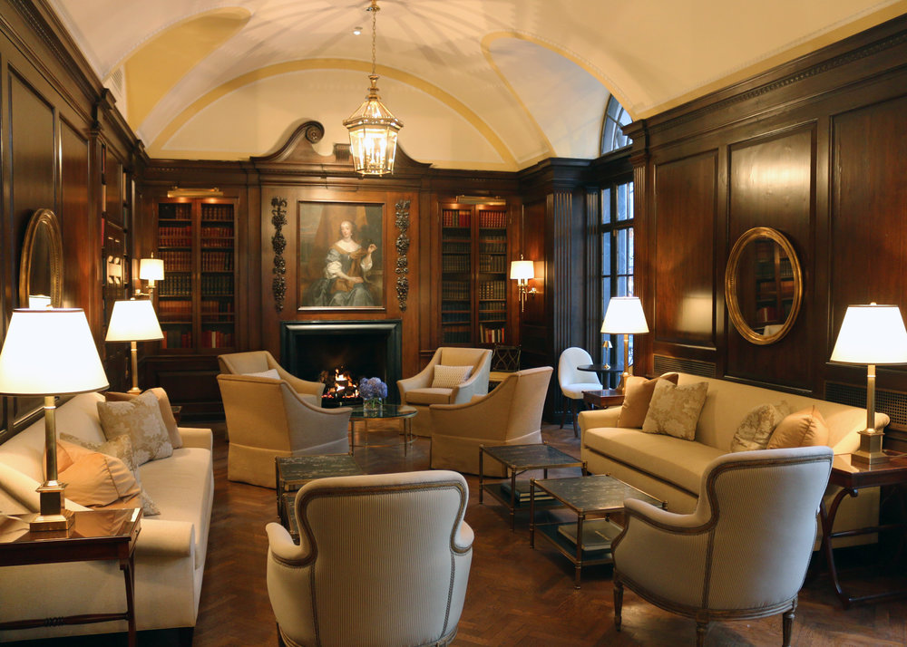 custom armchairs, custom sofas, reupholstered bergere chairs, throw pillows  Interior Design: Craig & Company for Women's Athletic Club