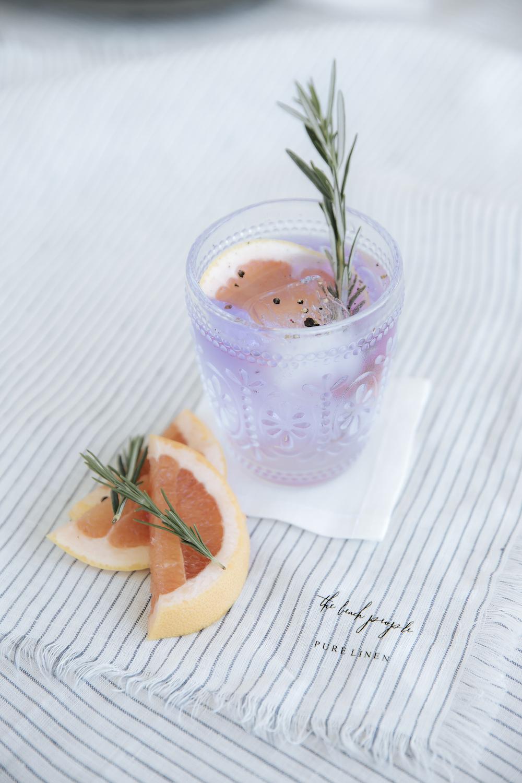 Ink Gin Summer Spritz.  Blue Stripe Linen Napkins  and  Blue Stripe Linen Tablecloth ,  White Linen Coasters .