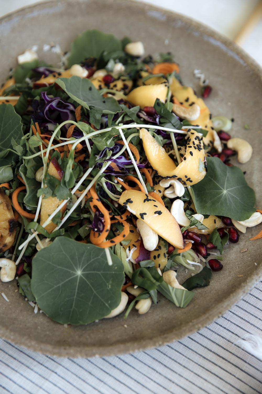 Summer Salad.  Blue Stripe Linen Tablecloth , Grit Ceramics  Plate.