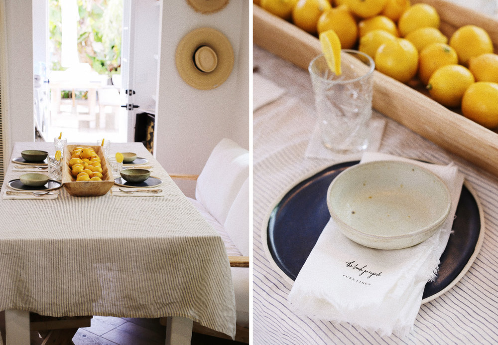 Our Linen Tablecloth and Linen Napkins (sold out in AU) -  Shop online here.