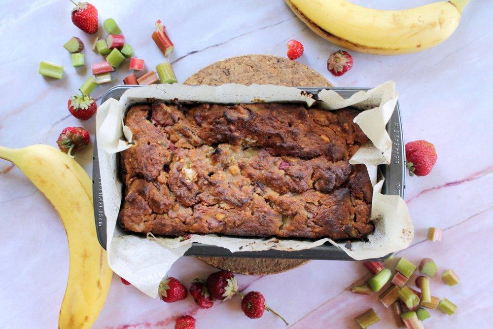 Strawberry Rhubarb Banana Bread -