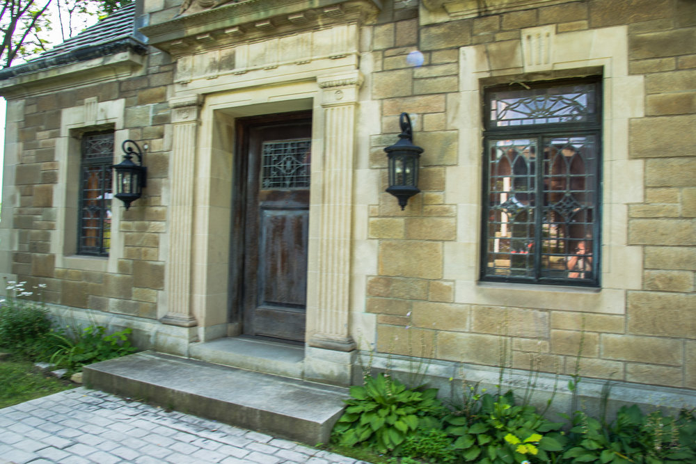 Great stone work and wood door in Bagg's Square