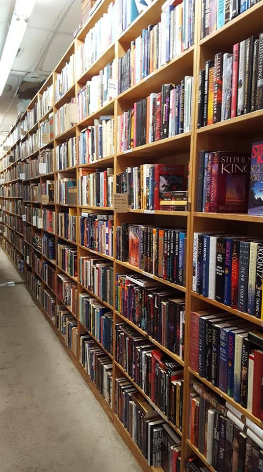 Large long bookshelf with books