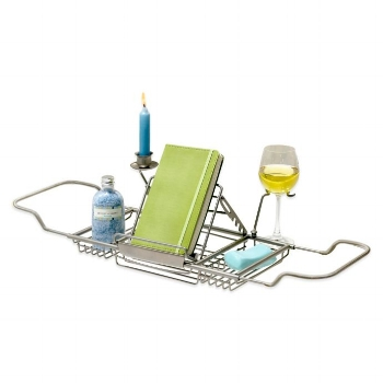 Over the tub caddy holding book wine and candle