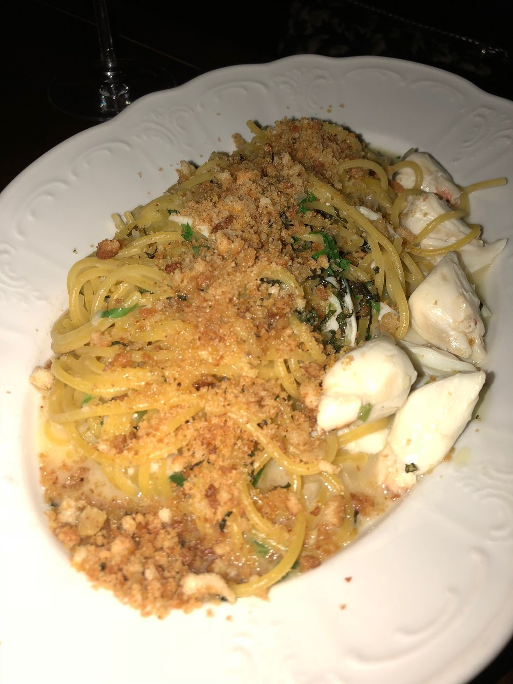 This is the Saffron Spaghetti I ordered at The Angeline Restaurant! So delicious!
