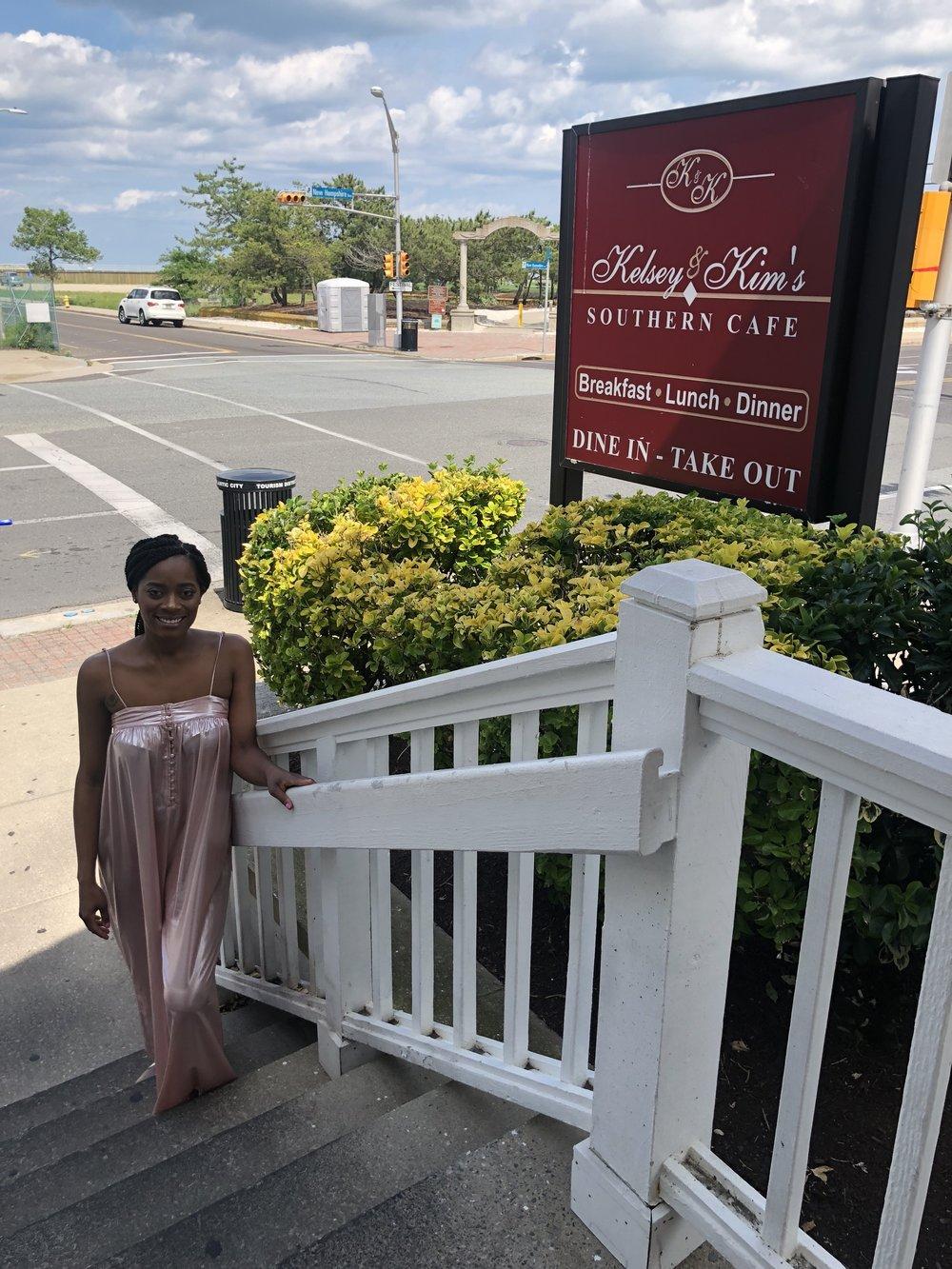 Me outside of Kelsey and Kim's restaurant!