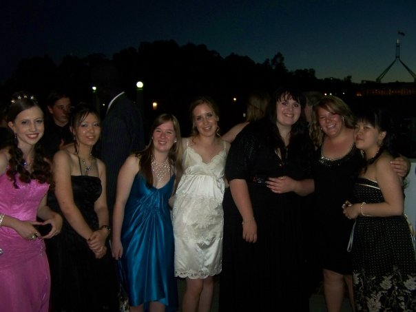 My Year 12 formal, 2008, aged 17 (I'm third from the right).