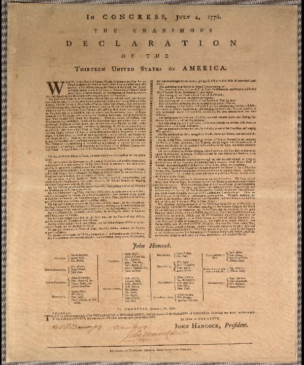 In Congress, July 4, 1776. The unanimous declaration of the thirteen United States of America. Continental Congress Broadside Collection (Library of Congress). Baltimore, in Maryland : Printed by Mary Katharine Goddard, [1777]