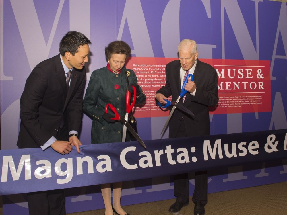 Her Royal Highness The Princess Royal, Librarian of Congress James H. Billington, and Law Librarian of Congress David Mao cut a ribbon to open a 2014 Magna Carta exhibit at the Library of Congress. The commemorative exhibit was supported by The Friends and several members of The Friends Board of Governors.