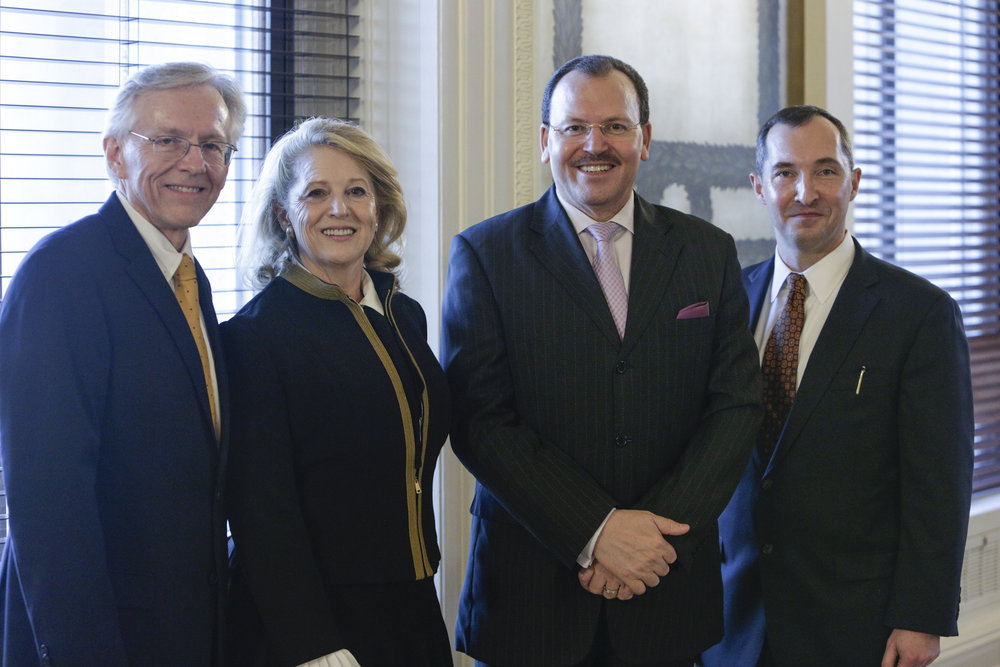 Richard and Debra Hise of Hise Exploration Partners; Ambassador of the Republic of Tunisia His Excellency Fayçal Gouia; and Dan Stigall, author of  The Santillana Codes,  within the original Law Library of Congress. (Left to Right) Photo by Shawn Miller