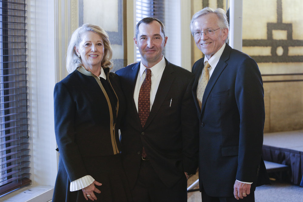 Richard and Debra Hise of Hise Exploration Partners with Dan Stigall, author of  The Santillana Codes.  Photo by Shawn Miller