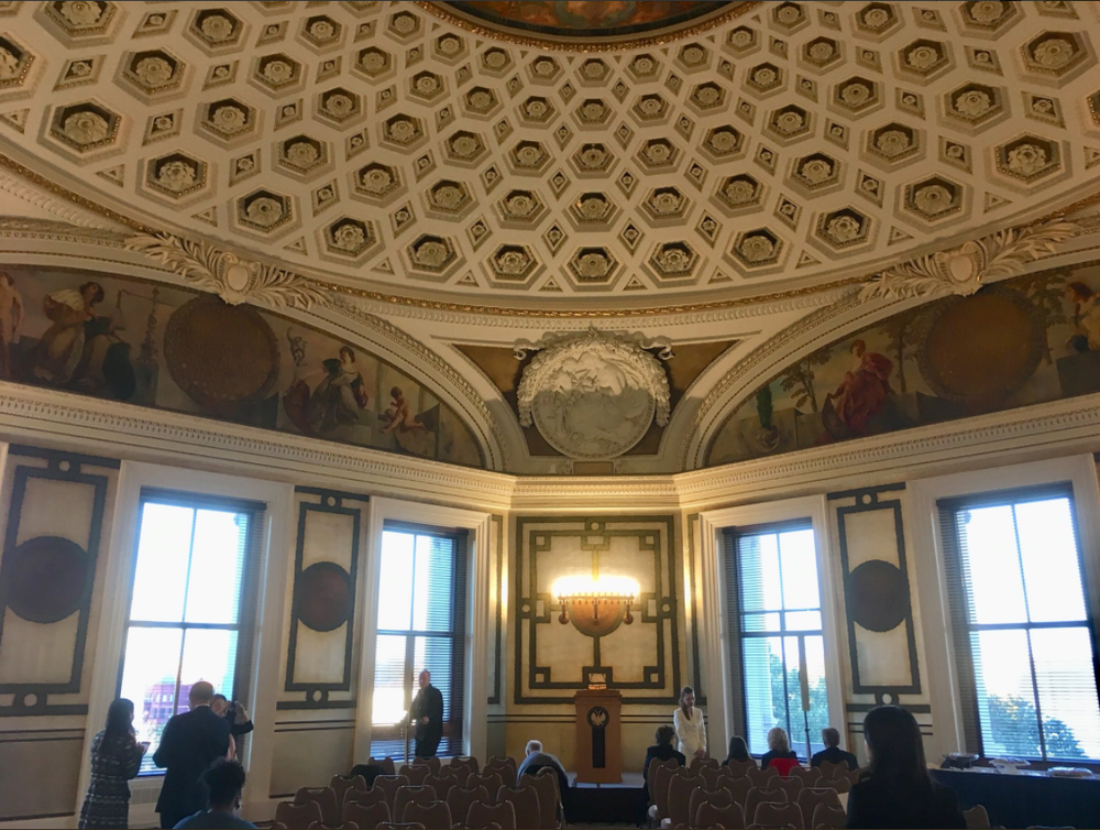 Guests arrive within the original Law Library of Congress, adjacent to the Library of Congress Africa and Middle East Division Reading Room and overlooking the U.S. Supreme Court. Photo by Sean Foley