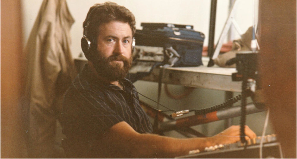 At work using the Nagra IV-S analogue tape recorder during the late 1980's.