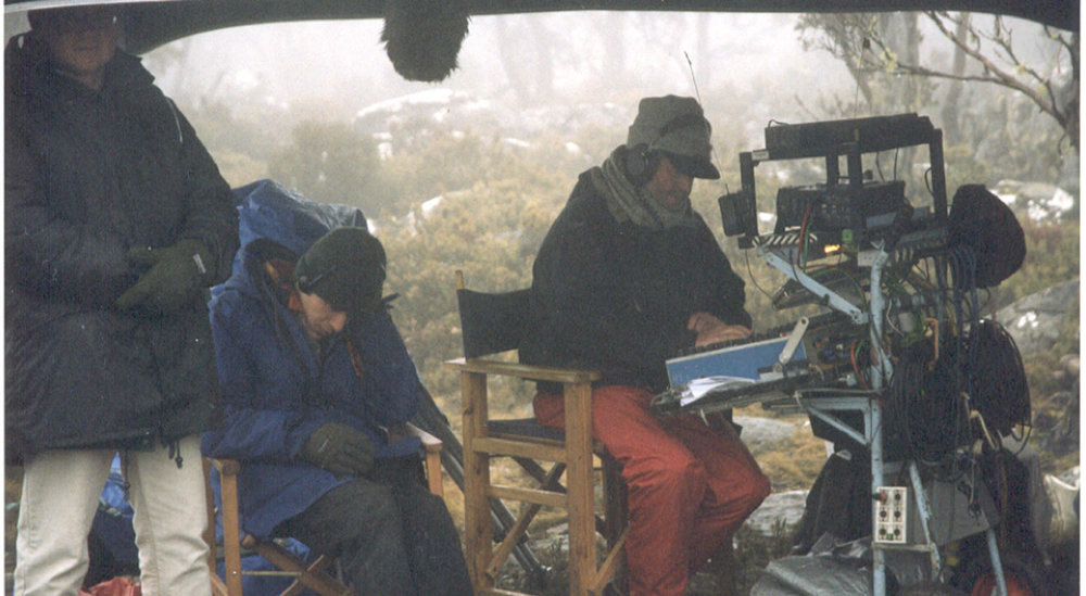 "Freezing in sub zero Tasmania on  ""Noah's Ark""  1999 using Audio Developments 8 channel mixer and Fostex PD-2 DAT recorder. Luckily these machines had internal heaters."