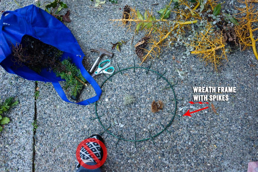 Ok, on to wreath construction:  Supplies: Something to cut with (official clippers would probably work better), something to bang down the spikes (I tried pliers, hammer worked better), tree and plant cuttings (seek out little bits of color. Dead stuff looks good too!), wreath frame with spiky things.  Warning: Do not wear soft soled slippers for this activity. Ouch!!