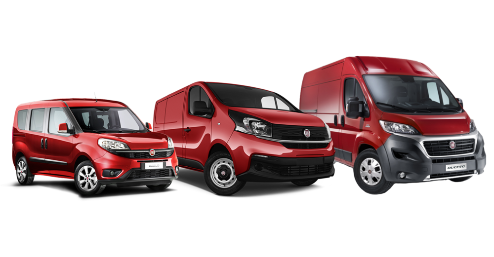 Fra venstre: Fiat Doblo, Fiat Talento, Fiat Ducato.