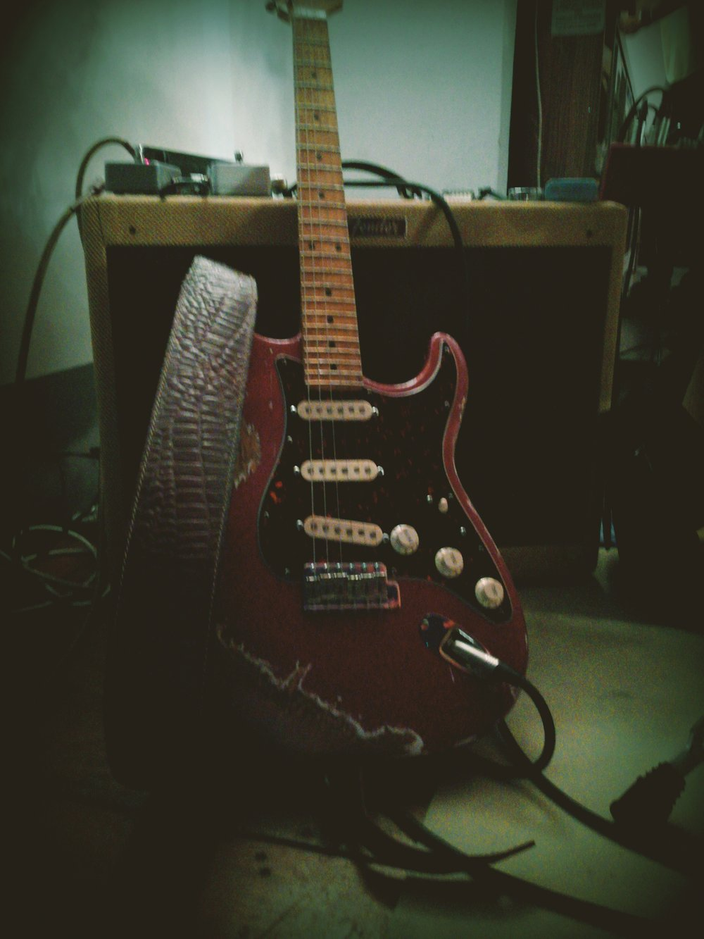 - Andrea's heavyrelic guitar, made of alder and maple wood