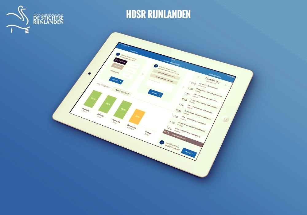 Dutch waterships have the task of managing the level of water in specific areas. They are responsible for groundwater levels, water filtration and dike maintenance.  Hoogheemraadschap de Stichtse Rijnlanden saw our UrenReg app and decided to ditch pens and paper and have us build a beautiful time-reporting app for iPad.