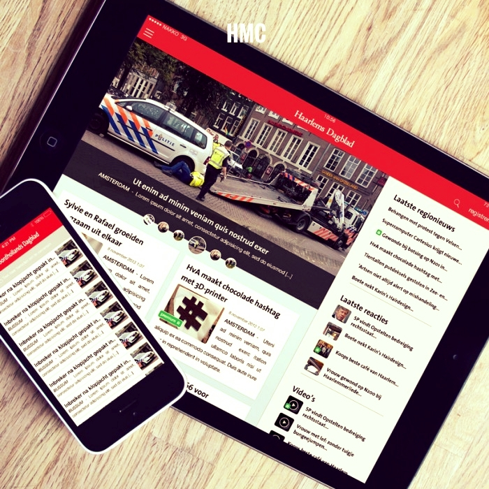HMC is publisher of some of the larger regional newspapers in Holland. We've developed apps for five of the largest titles.  Noordhollands Dagblad  Haarlems Dagblad  de Gooi- en Eemlander  Leidsch Dagblad  Ijmuider Courant  The apps are all hooked up to the newspaper's digital subscription backend for premium article viewing. Editors can flag articles they publish as 'breaking news'. Push alerts are sent out to all users of the apps so they are able to follow the story as it unfolds.  To make development as convenient as possible for the client we've rolled these apps into one shared code-base. So any changes made are replicates along all titles. That's what we like…. convenience, all in the best interest of the client!