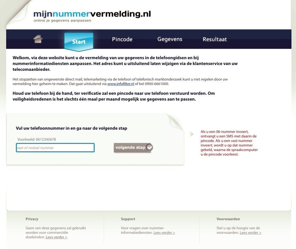 MijnNummervermelding.nl is the central place where all dutch telco's enable users to change their address info.