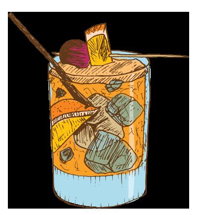 OldFashioned - Muddled orange and house brandied cherries, whiskey, angostura bitters, Dark Horse maple syrup, splash of soda