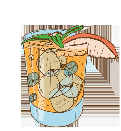 PeachyKEEN - Vodka, Simple Syrup, Peach, Basil, Lemon Juice- SEASONAL -