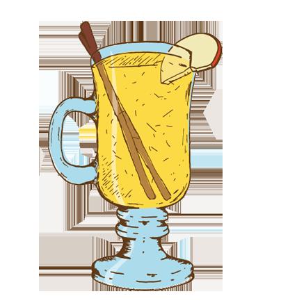 HotJohnny - Whiskey, Hot Apple Cider, Lemon Juice, Cinnamon Simple Syrup, Cinnamon Stick- SEASONAL -