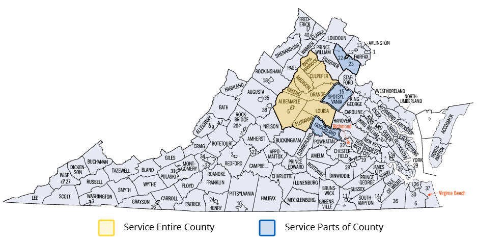 Service Area in Virginia