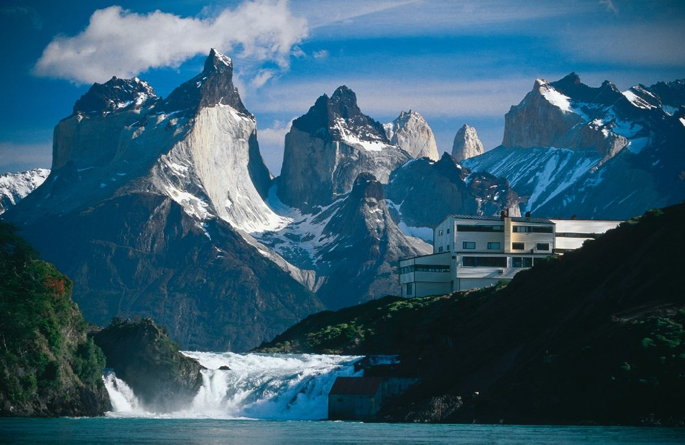 The mountains behind Explora Patagonia lodge