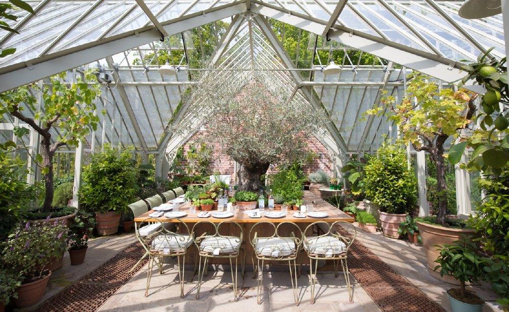 Beautiful Kamalaya lunch setting in the greenhouse at Lime Wood
