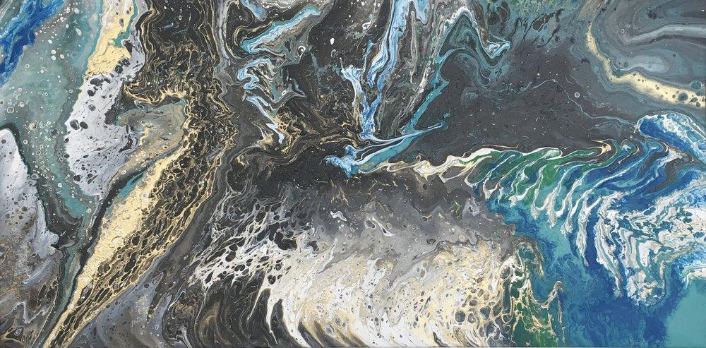 Hummingbird, 2017 [sold] - 48 x 24 Fluid mixed media on canvas.