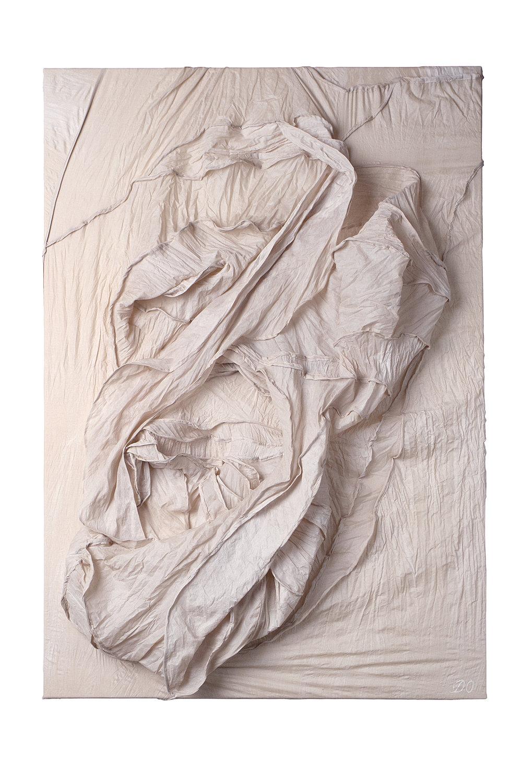 Embryo, 2017, silk, acrylic, 106x75 cm