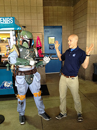 Brian was captured by bounty hunter Boba Fett at Star Wars Night 2013. He later escaped.