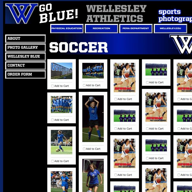 Programmed and designed a sports photography website - Wellesley College Sports Photography